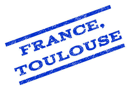 toulouse: France, Toulouse watermark stamp. Text caption between parallel lines with grunge design style. Rotated rubber seal stamp with dust texture. Vector blue ink imprint on a white background.