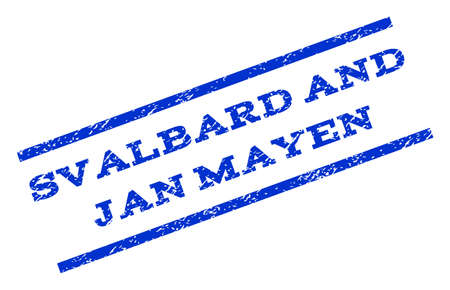 jan: Svalbard and Jan Mayen watermark stamp. Text caption between parallel lines with grunge design style. Rotated rubber seal stamp with dirty texture. Vector blue ink imprint on a white background.