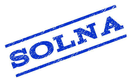 Solna watermark stamp. Text caption between parallel lines with grunge design style. Rotated rubber seal stamp with unclean texture. Vector blue ink imprint on a white background.