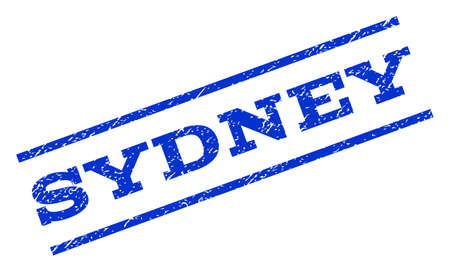 Sydney watermark stamp. Text tag between parallel lines with grunge design style. Rotated rubber seal stamp with dust texture. Vector blue ink imprint on a white background.