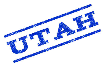 Utah watermark stamp. Text caption between parallel lines with grunge design style. Rotated rubber seal stamp with dust texture. Vector blue ink imprint on a white background.