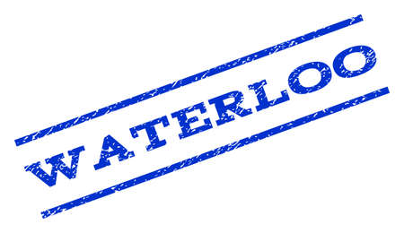 waterloo: Waterloo watermark stamp. Text tag between parallel lines with grunge design style. Rotated rubber seal stamp with scratched texture. Vector blue ink imprint on a white background. Illustration