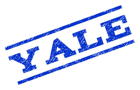 yale: Yale watermark stamp. Text tag between parallel lines with grunge design style. Rotated rubber seal stamp with dirty texture. Vector blue ink imprint on a white background.