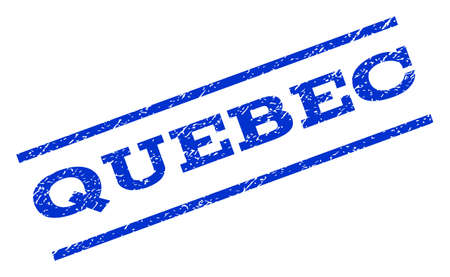 quebec: Quebec watermark stamp. Text caption between parallel lines with grunge design style. Rotated rubber seal stamp with dirty texture. Vector blue ink imprint on a white background.