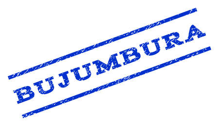 bujumbura: Bujumbura watermark stamp. Text tag between parallel lines with grunge design style. Rotated rubber seal stamp with dirty texture. Vector blue ink imprint on a white background. Illustration