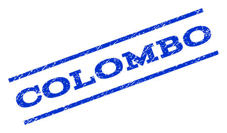 colombo: Colombo watermark stamp. Text caption between parallel lines with grunge design style. Rotated rubber seal stamp with scratched texture. Vector blue ink imprint on a white background.