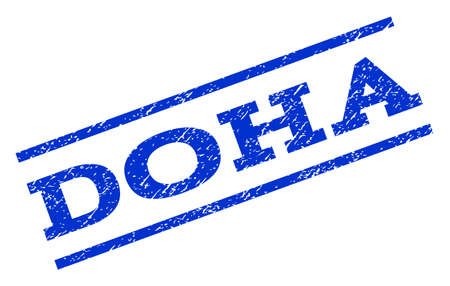 Doha watermark stamp. Text tag between parallel lines with grunge design style. Rotated rubber seal stamp with dirty texture. Vector blue ink imprint on a white background.