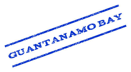 guantanamo: Guantanamo Bay watermark stamp. Text caption between parallel lines with grunge design style. Rotated rubber seal stamp with scratched texture. Vector blue ink imprint on a white background.