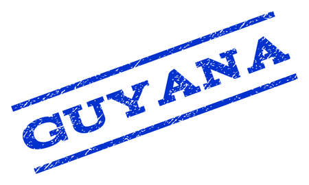 guyanese: Guyana watermark stamp. Text caption between parallel lines with grunge design style. Rotated rubber seal stamp with dust texture. Vector blue ink imprint on a white background. Illustration