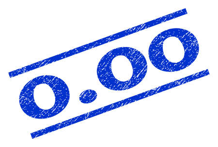 0.00 watermark stamp. Text caption between parallel lines with grunge design style. Rotated rubber seal stamp with dust texture. Vector blue ink imprint on a white background. Illustration