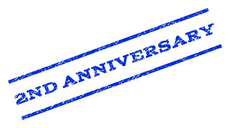 2nd: 2nd Anniversary watermark stamp. Text caption between parallel lines with grunge design style. Rotated rubber seal stamp with unclean texture. Vector blue ink imprint on a white background.