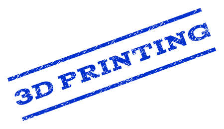 3D Printing watermark stamp. Text caption between parallel lines with grunge design style. Rotated rubber seal stamp with dirty texture. Vector blue ink imprint on a white background.