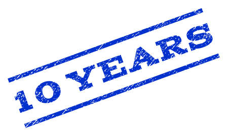 10 years: 10 Years watermark stamp. Text caption between parallel lines with grunge design style. Rotated rubber seal stamp with dirty texture. Vector blue ink imprint on a white background.