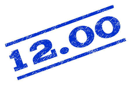 12.00 watermark stamp. Text tag between parallel lines with grunge design style. Rotated rubber seal stamp with dirty texture. Vector blue ink imprint on a white background.