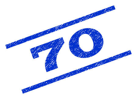 rotated: 70 watermark stamp. Text tag between parallel lines with grunge design style. Rotated rubber seal stamp with unclean texture. Vector blue ink imprint on a white background.