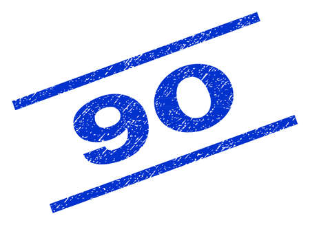 90 watermark stamp. Text tag between parallel lines with grunge design style. Rotated rubber seal stamp with dust texture. Vector blue ink imprint on a white background.