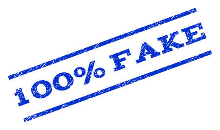 fully: 100 Percent Fake watermark stamp. Text caption between parallel lines with grunge design style. Rotated rubber seal stamp with unclean texture. Vector blue ink imprint on a white background.