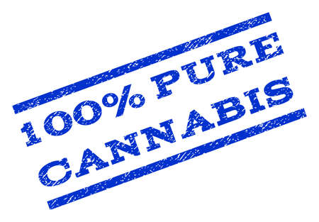 overall: 100 Percent Pure Cannabis watermark stamp. Text caption between parallel lines with grunge design style. Rotated rubber seal stamp with dust texture. Vector blue ink imprint on a white background.
