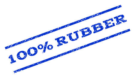 fully: 100 Percent Rubber watermark stamp. Text caption between parallel lines with grunge design style. Rotated rubber seal stamp with dust texture. Vector blue ink imprint on a white background. Illustration
