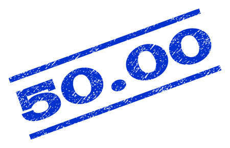 50.00 watermark stamp. Text caption between parallel lines with grunge design style. Rotated rubber seal stamp with dirty texture. Vector blue ink imprint on a white background. Illustration