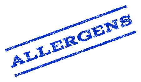allergens: Allergens watermark stamp. Text tag between parallel lines with grunge design style. Rotated rubber seal stamp with dirty texture. Vector blue ink imprint on a white background.