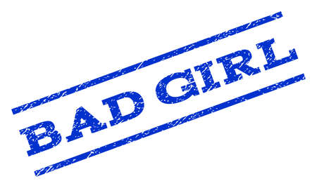 dirty girl: Bad Girl watermark stamp. Text tag between parallel lines with grunge design style. Rotated rubber seal stamp with dirty texture. Vector blue ink imprint on a white background.