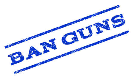 rotated: Ban Guns watermark stamp. Text tag between parallel lines with grunge design style. Rotated rubber seal stamp with scratched texture. Vector blue ink imprint on a white background.