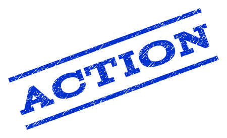 disciplinary action: Action watermark stamp. Text tag between parallel lines with grunge design style. Rotated rubber seal stamp with scratched texture. Vector blue ink imprint on a white background.