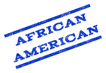 rotated: African American watermark stamp. Text caption between parallel lines with grunge design style. Rotated rubber seal stamp with unclean texture. Vector blue ink imprint on a white background.