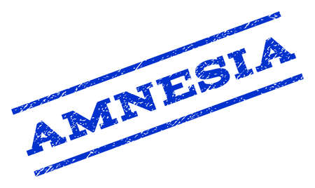 amnesia: Amnesia watermark stamp. Text caption between parallel lines with grunge design style. Rotated rubber seal stamp with dust texture. Vector blue ink imprint on a white background.