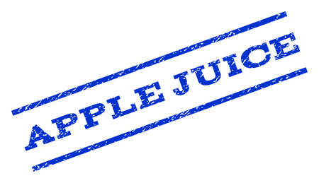apple juice: Apple Juice watermark stamp. Text caption between parallel lines with grunge design style. Rotated rubber seal stamp with scratched texture. Vector blue ink imprint on a white background. Illustration
