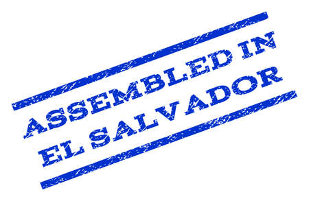 rotated: Assembled In El Salvador watermark stamp. Text tag between parallel lines with grunge design style. Rotated rubber seal stamp with dirty texture. Vector blue ink imprint on a white background.