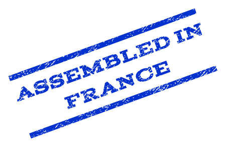 Assembled In France watermark stamp. Text caption between parallel lines with grunge design style. Rotated rubber seal stamp with dust texture. Vector blue ink imprint on a white background.