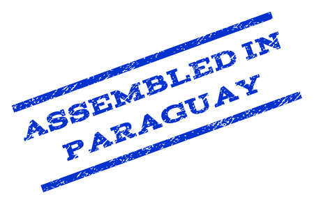rotated: Assembled In Paraguay watermark stamp. Text tag between parallel lines with grunge design style. Rotated rubber seal stamp with unclean texture. Vector blue ink imprint on a white background.