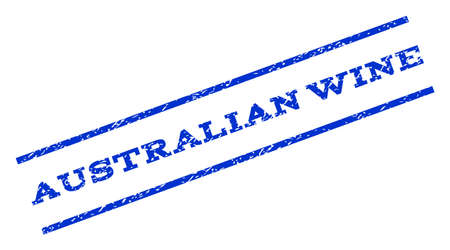 rotated: Australian Wine watermark stamp. Text caption between parallel lines with grunge design style. Rotated rubber seal stamp with unclean texture. Vector blue ink imprint on a white background.