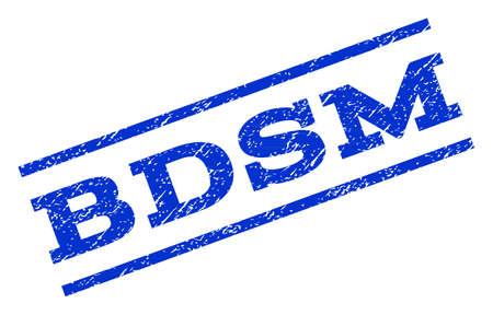 bdsm: Bdsm watermark stamp. Text tag between parallel lines with grunge design style. Rotated rubber seal stamp with dirty texture. Vector blue ink imprint on a white background.