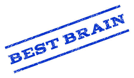 rotated: Best Brain watermark stamp. Text caption between parallel lines with grunge design style. Rotated rubber seal stamp with scratched texture. Vector blue ink imprint on a white background.