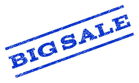 rotated: Big Sale watermark stamp. Text tag between parallel lines with grunge design style. Rotated rubber seal stamp with dirty texture. Vector blue ink imprint on a white background.