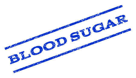 blood sugar: Blood Sugar watermark stamp. Text caption between parallel lines with grunge design style. Rotated rubber seal stamp with unclean texture. Vector blue ink imprint on a white background. Illustration