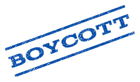 boycott: Boycott watermark stamp. Text caption between parallel lines with grunge design style. Rotated rubber seal stamp with dirty texture. Vector blue ink imprint on a white background. Illustration