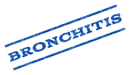 bronchitis: Bronchitis watermark stamp. Text tag between parallel lines with grunge design style. Rotated rubber seal stamp with dust texture. Vector blue ink imprint on a white background.