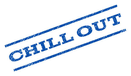 chill out: Chill Out watermark stamp. Text caption between parallel lines with grunge design style. Rotated rubber seal stamp with dirty texture. Vector blue ink imprint on a white background. Illustration