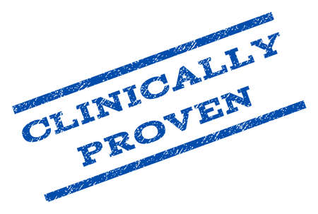 clinically: Clinically Proven watermark stamp. Text caption between parallel lines with grunge design style. Rotated rubber seal stamp with unclean texture. Vector blue ink imprint on a white background. Illustration