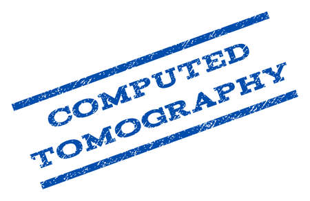 computed: Computed Tomography watermark stamp. Text tag between parallel lines with grunge design style. Rotated rubber seal stamp with scratched texture. Vector blue ink imprint on a white background. Illustration