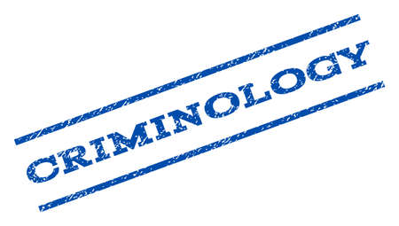 criminology: Criminology watermark stamp. Text caption between parallel lines with grunge design style. Rotated rubber seal stamp with unclean texture. Vector blue ink imprint on a white background. Illustration