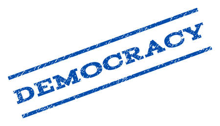 democracy: Democracy watermark stamp. Text caption between parallel lines with grunge design style. Rotated rubber seal stamp with dirty texture. Vector blue ink imprint on a white background.