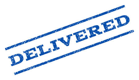 delivered: Delivered watermark stamp. Text caption between parallel lines with grunge design style. Rotated rubber seal stamp with dust texture. Vector blue ink imprint on a white background.