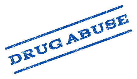 drug abuse: Drug Abuse watermark stamp. Text caption between parallel lines with grunge design style. Rotated rubber seal stamp with unclean texture. Vector blue ink imprint on a white background.