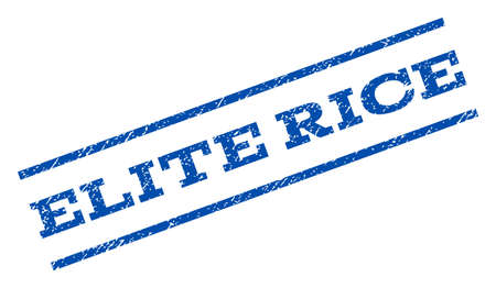 elite: Elite Rice watermark stamp. Text caption between parallel lines with grunge design style. Rotated rubber seal stamp with unclean texture. Vector blue ink imprint on a white background.