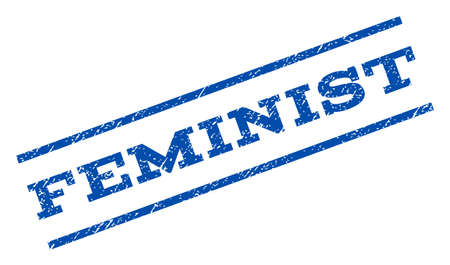 feminist: Feminist watermark stamp. Text caption between parallel lines with grunge design style. Rotated rubber seal stamp with dust texture. Vector blue ink imprint on a white background. Illustration